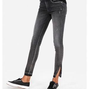 EXPRESS High Waisted Denim-Split Hem Ankle Jeans
